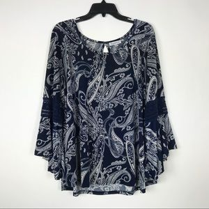 Roommates Tops - Roommates 2X Blouse Bell Sleeve Paisley